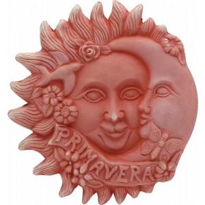 Terakotová dekorácia na stenu slnko s mesiacom a s nápisom Primavera - jar 23 cm 30813