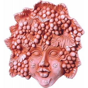 Terakotová dekorácia na stenu ako tvár dekorovanou hroznom 35 cm 30814