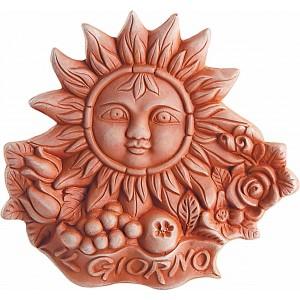 Terakotová dekorácia na stenu slnko s toskánskym dekorom a nápisom IL Giorno - deň 26 cm 30815