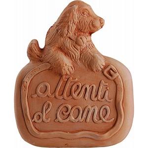 Terakotová dekorácia na bránu so psíkom a nápisom Attenti Al Cane - pozor pes 20 cm 34964