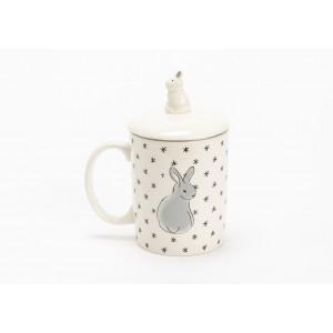 Hrnček na sypaný čaj s poklopom - zajačik 15x8x13cm 32078
