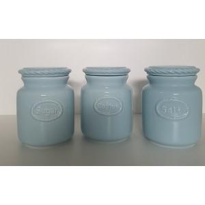 Dóza ker. soľ, káva, cukor modrá 28035