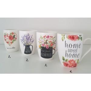 Pohár porcelánový - vzor kvety 345ml 29554