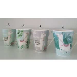 Pohár porcelánový - vzor lama 385ml 29553