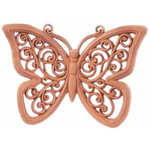 Terakotový motýľ vyrezávaný 22 cm 30770