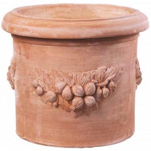 Terakotový kvetináč zdobený venčekom z ovocia 45 cm 30836