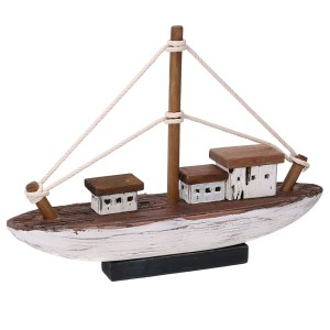 Loď drevená, bielo-hnedá 31588