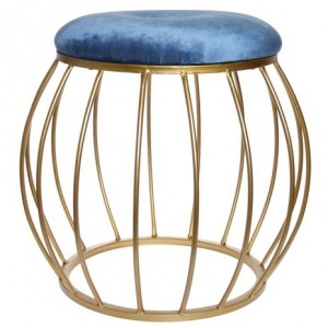 Semišový modrý puf okrúhli so zlatou konštrukciou  40x40x38 cm 32425