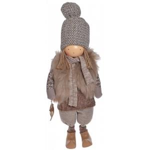 Anjel chlapec béžový stojaci textilný 50 cm 32385