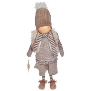 Anjel dievča béžové stojace textilné 50 cm 32391