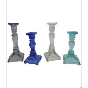 Svietnik sklenený - mix farieb 29540