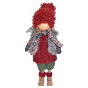 Anjel chlapec bordový stojaci textilný 50 cm 32386