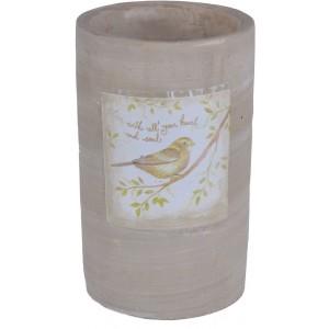 Kvetináč keramický, vzor vtáčik 28789