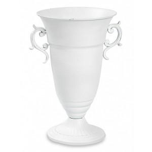 Váza na stopke kovová biela 24681