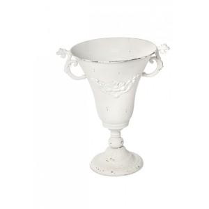 Váza na stopke kovová biela 24680
