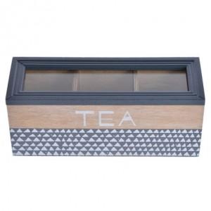 Drevená dóza na čaj hnedo sivá 22,5x8x9 cm 32424