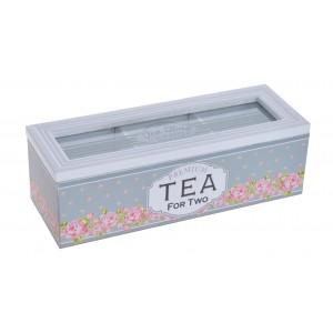 Dóza na čaj - drevo, vzor kvety 28775
