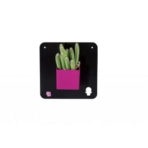 Čierny magnetický štvorcový  panel pre kvetináče s magnetmi a s malým vyrezaným kaktusom 34975