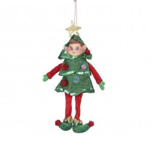 Škriatok textilný v zelenom stromčeku 34163