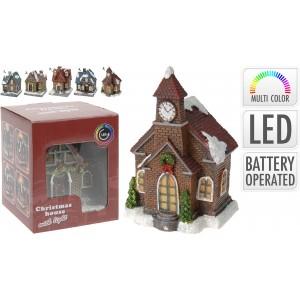 Vianočná ozdoba dedina, viacfarebná LED 31669