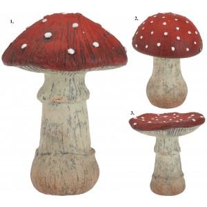 Huba keramická, červeno-biela 16cm 31705