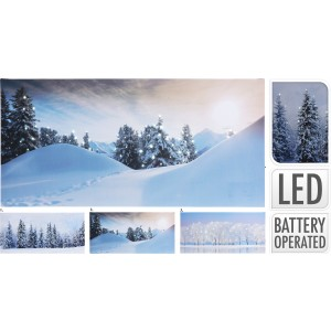 Obraz - zasnežená krajina LED 28x58cm