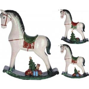 Koník hojdací biely 35cm 31711
