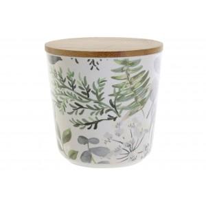 Bambusová dóza okrúhla vzor zelených listov 10,5x10,5 cm 32766