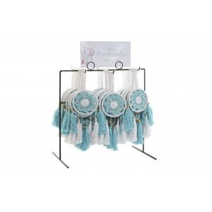 Bavlnený lapač snov modro-biely so strapcami 9 x 0,5 x 28 35273