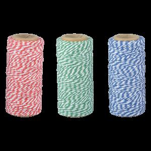 Bavlnený pruhovaný kuchynský špagát v troch farbách 55m Esschert design 34790