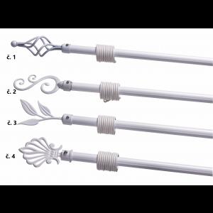 Biela alebo krémová kovová rozťahovacia garniž s krúžkami v štyroch dekoroch 120-210 cm 33198