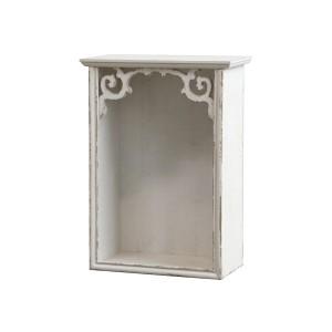 Biela drevená skrinka vyrezávaná v rustikálnom štýle Chic Antique 34206