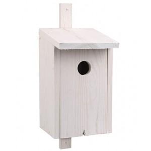Biela drevená vtáčia búdka so strieškou 34898