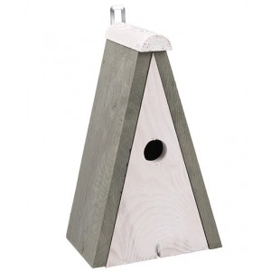 Biela drevená vtáčia búdka s sivou strieškou a háčikom 34896