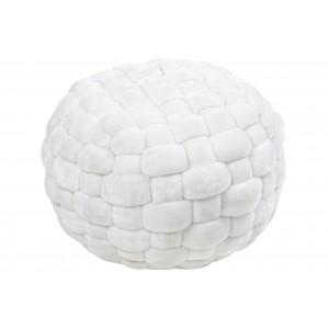 Biely jemný na dotyk štvorčekovaný puf na sedenie 50 x 10 x 40 cm 35319
