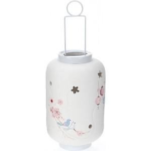 Biely keramický svietnik s kovovou rúčkou s ružovo modrým jemným dekorom 30 cm 22688