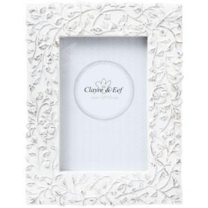 Biely patinovaný fotorám vo vintage štýle zdobený konárikmi 17x22 cm Clayre-eef 23176