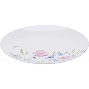 Biely porcelánový tanier s kvetinovým motívom a s vážkou priemer 27 cm 33386
