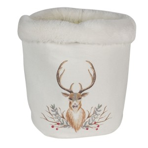 Biely textilný úložný vak s kožušinkou a motívom jeleňa Clayre & Eef 35026