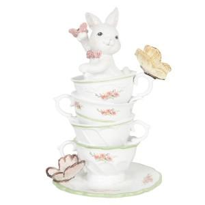 Biely zajačik sediaci v šálkach na tanieriku s motýľmi z polyresinu 13x13x20 cm Clayre-Eef 33337