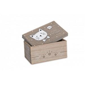 Krabica drevo mačka 23x14x11cm 25679