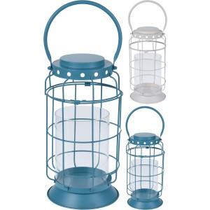 Lampáš kovový, modrý, biely 28950