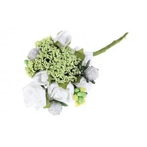 Kytička s ružami biela 14cm 25759