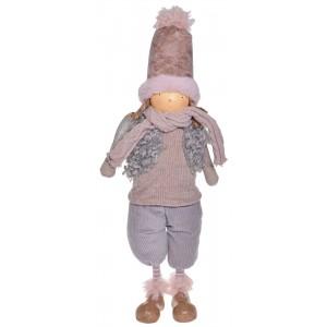 Chlapec vianočný ružový v kabáte stojaci textilný s klobúkom a šálom 17 x 10 x 50 cm 35549