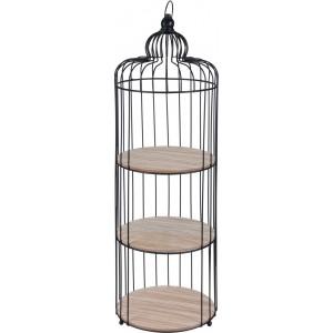 Čierna okrúhla kovová policová skrinka v tvare klietky s drevenými poličkami 30x30x100 cm 33379