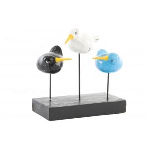Drevená dekorácia troch vtákov na podstavci 32738