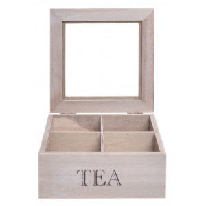 Drevená dóza na čaj s priehradkami a s nápisom TEA 16,5 x 16,5 x 7 cm 35482