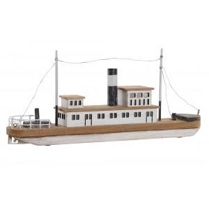 Drevená loď prírodná ako dekorácia s LED osvetlením a kovovými aplikáciami 59 x 10 x 26 cm 35289