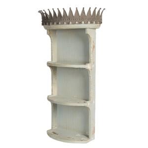 Drevená policová skrinka s kovovu korunkou 45x21x79 cm Clayre-Eef 32687