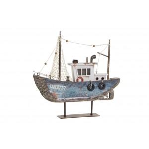 Drevená sivo-biela prírodná loď so sieťovými plachtami, kolesami na kovovom stojane s LED osvetlením 25 x 4 x 24 cm 35293
